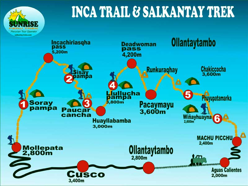 INCA TRAIL TREKKING & SALKANTAY TREK 7 Days: All Information on appalacian trail map, inca trail map, santa cruz trail map, mountain trail map, machu picchu trail map, huayna picchu trail map, tuckerman ravine trail map, fat man's pass trail map,